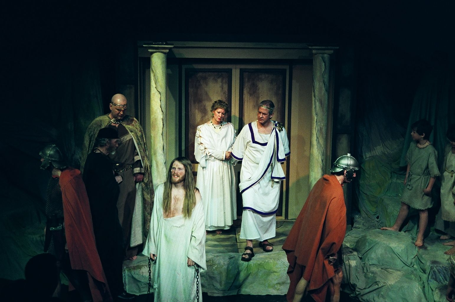 Jim Pritchard, Clyde Kelly, Darren Stewart, Emilie Johnston, Greg Spielman, David Young and Steven Johnson in Jesus Christ Superstar