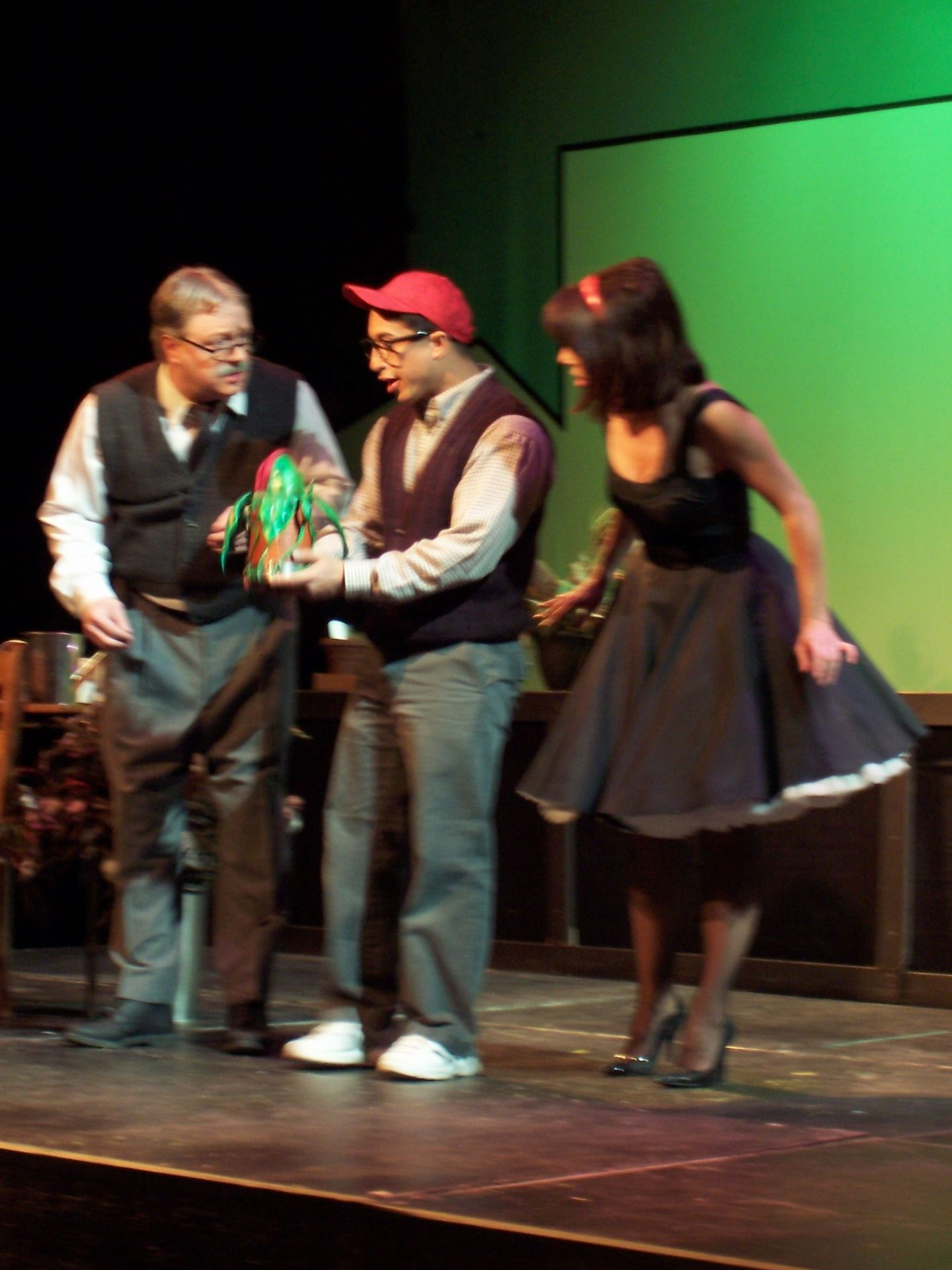 Carl Bishop, Levon Yon and Christine Horne in Little Shop of Horrors