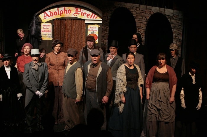 Jaclyn Barker, Tanya Wolff, Roy Styan, Tamra Zielinski MacMillan, Kyle Graae, Carl Bishop, Ted Senecal, Philip Frias, Lurene Bates, David Ng, Diana Venzi, Stefanie Barnfather and Crystal May in Sweeney Todd: The Demon Barber of Fleet Street