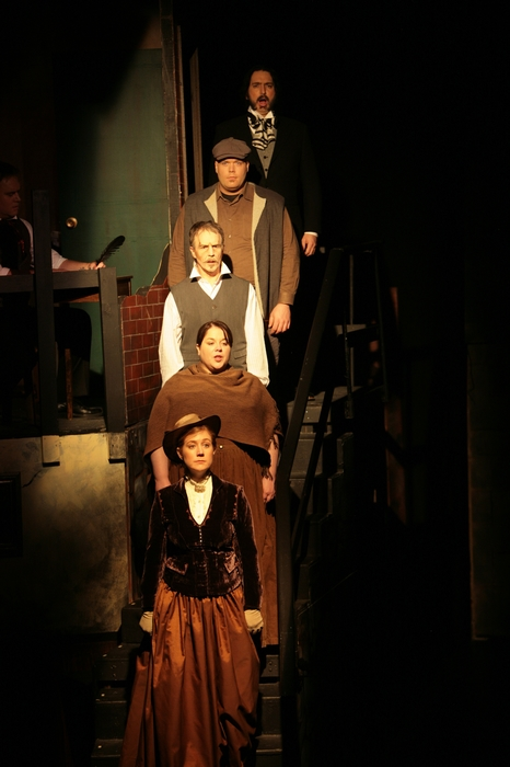 Colleen Bishop, Donna Pearson, Roy Styan, Ted Senecal and Jevon Hills in Sweeney Todd: The Demon Barber of Fleet Street