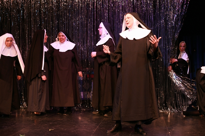 Natalie Manz, Kerry Miller, Jolene Anderson, Carl Bishop, Donna Barnfield and Marnie Patrick-Roberts in Nunsense the Mega Musical