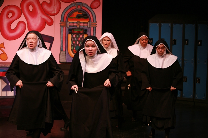 Donna Barnfield, Krista Willott, Andrea Gleason, Jolene Anderson and Kathy Lewis in Nunsense the Mega Musical