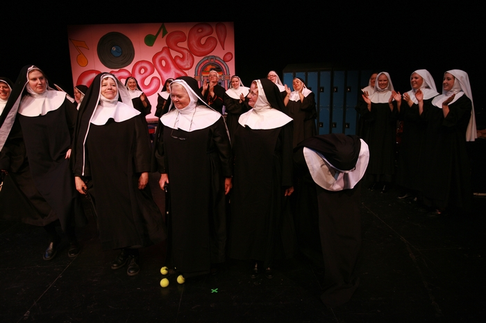 Alex Lyall, Terri Thompson, Mary Rooney, Julie Bradley and Mavis Clark in Nunsense the Mega Musical