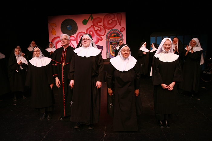 Kathy Lewis, Greg Miller, Carl Bishop, Jolene Anderson and Andrea Gleason in Nunsense the Mega Musical