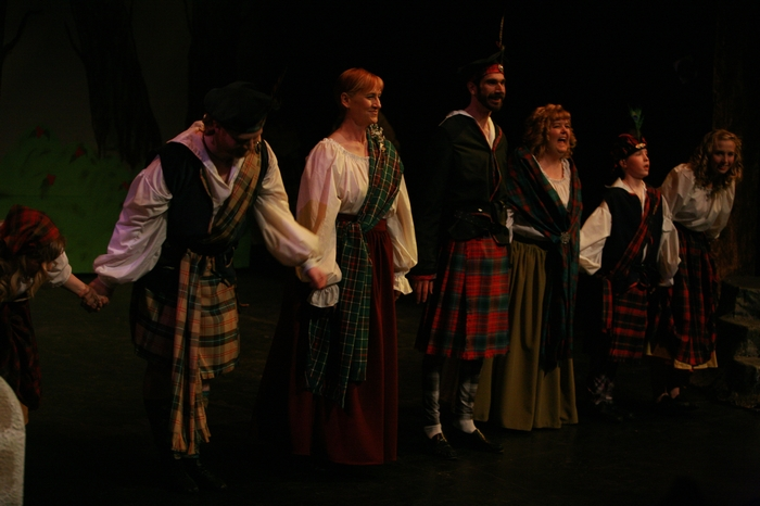 Bryan Weir, Linda Delaney, Ryan Patterson, Jill Howell-Fellows, Kyle Dewsnap and Evelyn Long in Brigadoon