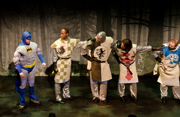 Janos Zeller, Tenaj Williams, James McGowan, Doug Keeling and Colin Lowe in Monty Python's Spamalot
