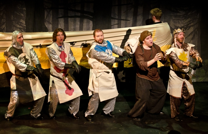 James McGowan, Doug Keeling, Colin Lowe, Colton Duane and Mike Beattie in Monty Python's Spamalot