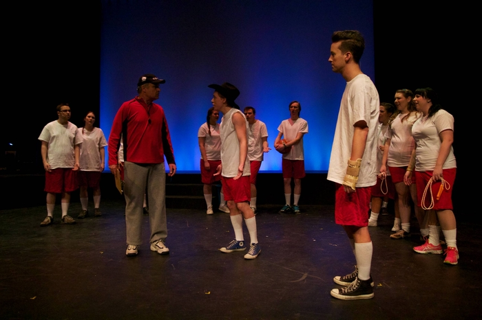 Paul Lokodi, Desiree Kenny, Christopher Gibson, Christopher Mavin, Harrison Bentley, Bryan Smith, Samantha Bellamy-Smith and Mandee Marcil in Footloose