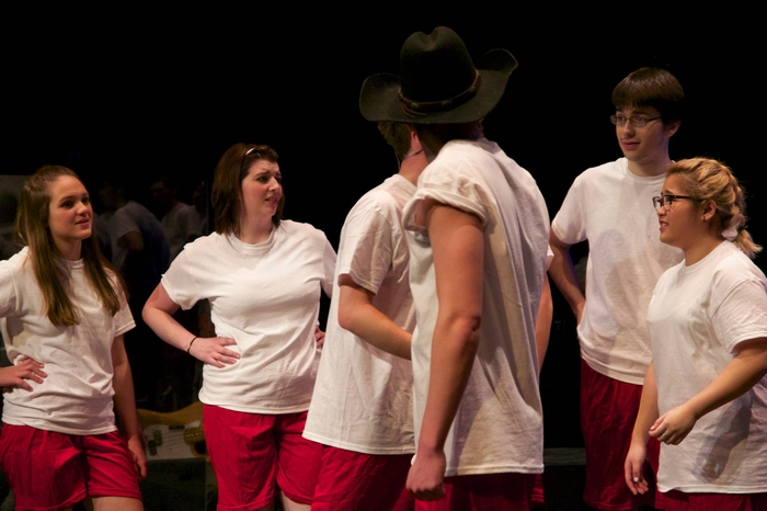 Hailey Palm, Carleigh Cartmell, Bryce Christianson and Jean Macapinlac in Footloose
