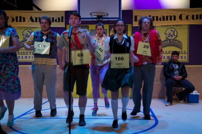 Tim Vollhoffer, Andrew Stewart, Caitlyn Milot, Amy Tollefson, Darren Stewart and Jason Lemmon in The 25th Annual Putnam County Spelling Bee