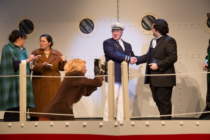 Danielle Renton, Vicki Trask, Sarah Rempel, David Young and Riley Galarneau in Anything Goes
