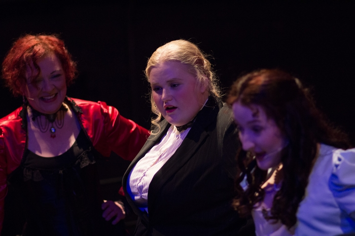 Donna Barnfield, Nicole Heide and Maddy Quinn in The Mystery of Edwin Drood