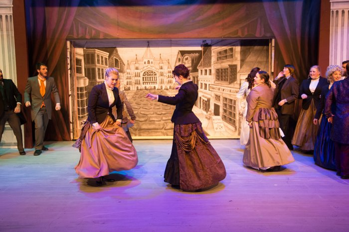 Tanis Laatsch, Christine Mooney, Vicki Trask, Johann Wentzel, Jacqueline Reid and Maddy Quinn in The Mystery of Edwin Drood