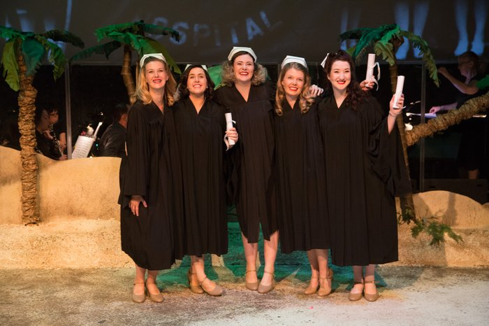 Stefanie Barnfather, Caitlin Karpetz, Paige Fossheim, Danielle Carrick and Nicole Heide in South Pacific