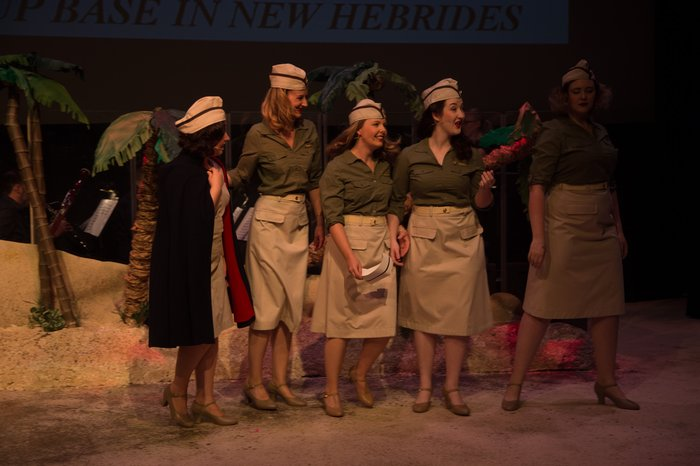 Caitlin Karpetz, Stefanie Barnfather, Danielle Carrick, Nicole Heide and Paige Fossheim in South Pacific