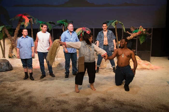 Daniel Ripley, Josh Bailey, Scott Fea, Rowena Romero, David Valentin Zapien Mercado and Damion Duckett in South Pacific