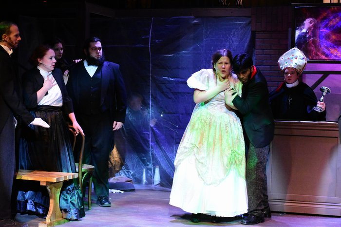 Brad Simon, Emma Secord, Riley Galarneau, Eva Knight, Praneet Akilla and Daniel Ripley in Jekyll & Hyde