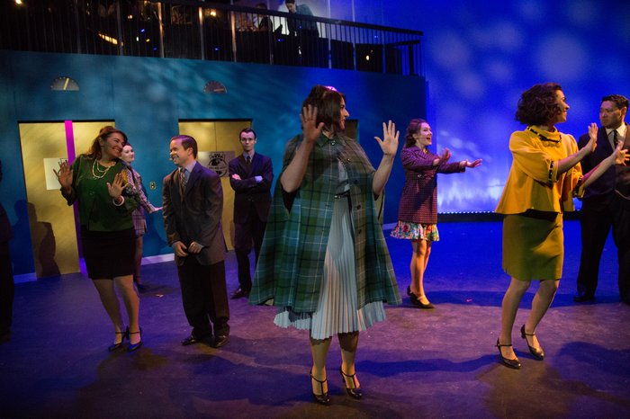Carleigh Cartmell, Alissa Grams, Danielle Renton, Christy Wiebe, Daniel Ripley, Daniel Kim and Spencer Schroh in How to Succeed in Business Without Really Trying