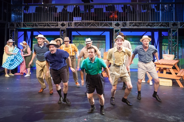 Fadi Saghir, Janos Zeller, Jamie Eastgaard-Ross, Darren Stewart, Daniel Ripley, Harrison Bentley and Dan Derksen in The Pajama Game
