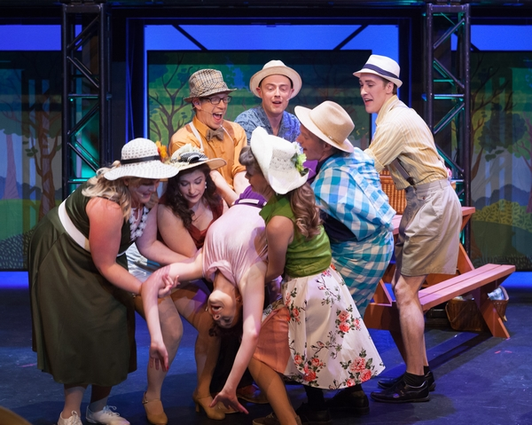 Kelly Misko, Mallorie Miller, Jamie Eastgaard-Ross, Ginette Simonot, Dan Derksen, Michele Martyn, Janos Zeller and Harrison Bentley in The Pajama Game