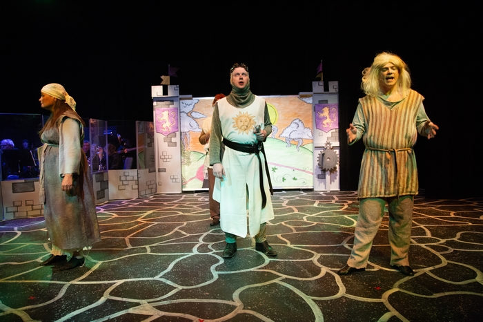 Jane Phillips, Mike Sornberger and Darren Stewart in Monty Python's Spamalot